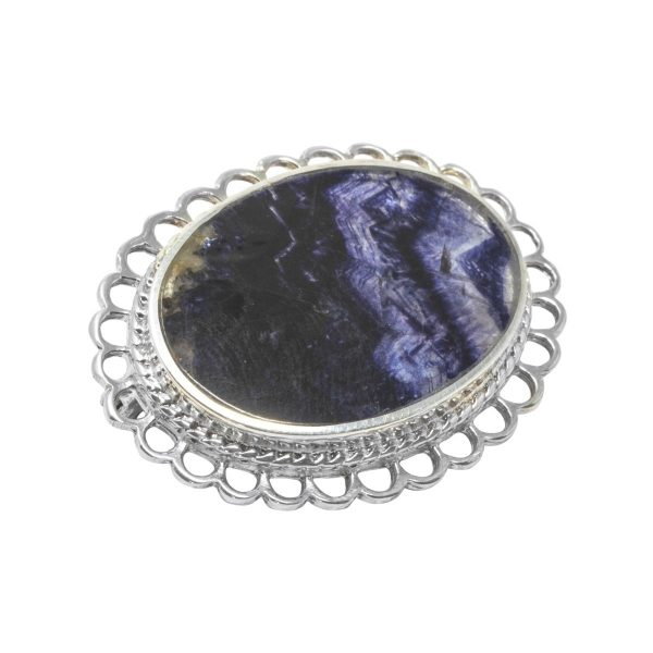 Silver Oval Blue John Stone Traditional Brooch