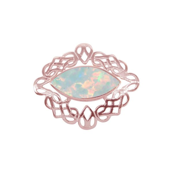 Rose Gold Opalite Sun Ice Celtic Brooch