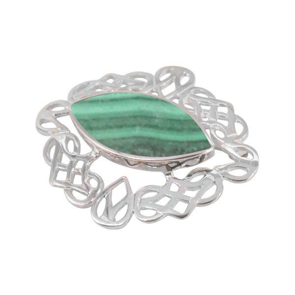 Silver Malachite Celtic Brooch