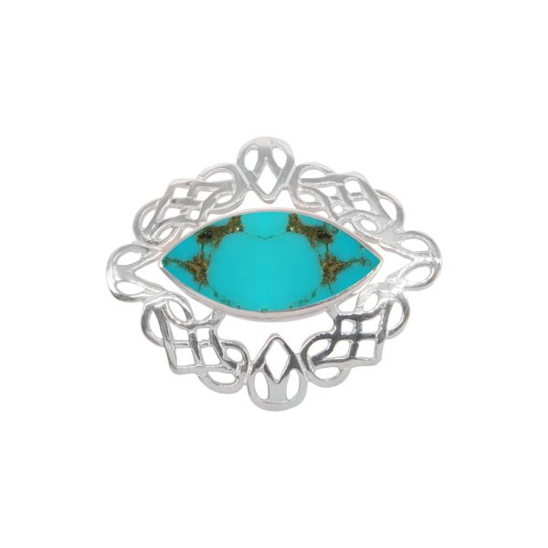 Silver Turquoise Celtic Brooch