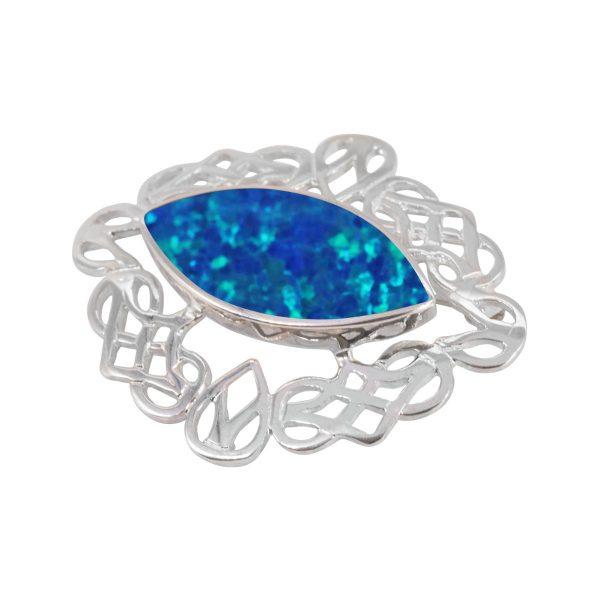 White Gold Cobalt Blue Opalite Celtic Brooch