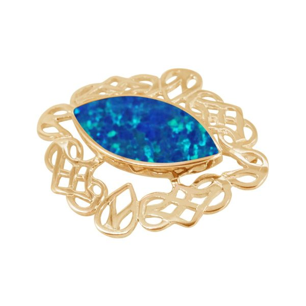 Yellow Gold Opaliye Cobalt Blue Celtic Brooch