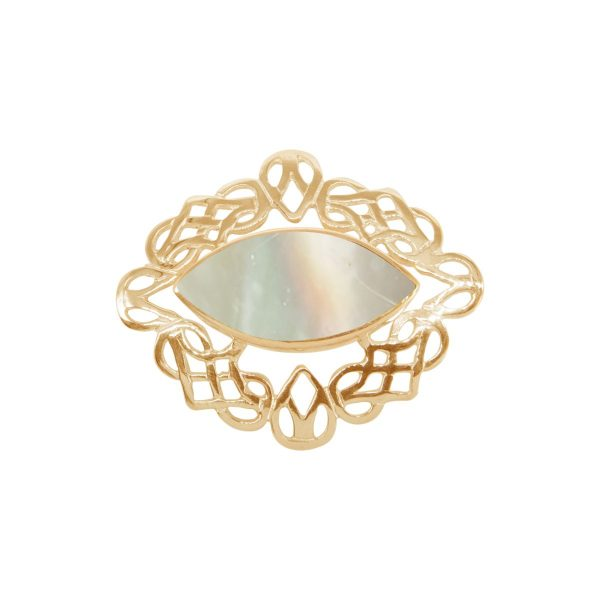 Yellow Gold Mother of Pearl Celtic Brooch