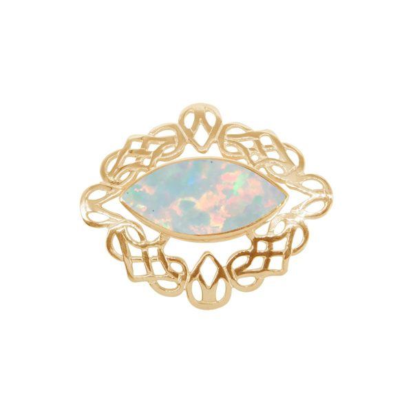 Yellow Gold Opalite Sun Ice Celtic Brooch