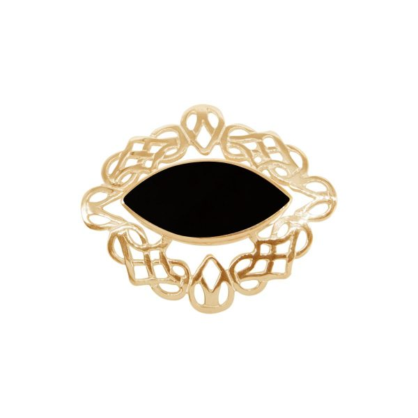 Yellow Gold Whitby Jet Celtic Brooch