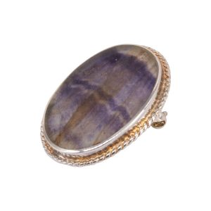 Silver Blue John Oval Stone Brooch Beaded Edge