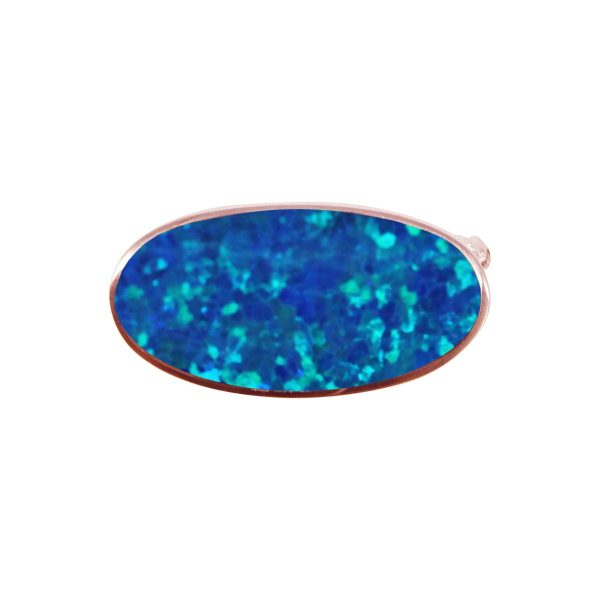 Rose Gold Opalite Cobalt Blue Oval Brooch