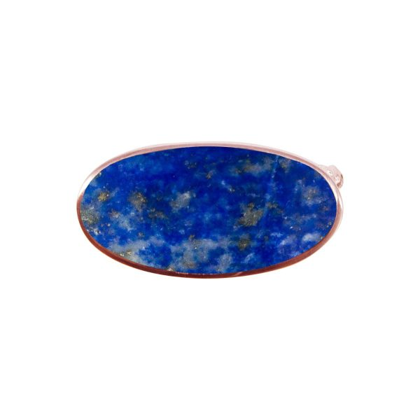 Rose Gold Lapis Oval Brooch