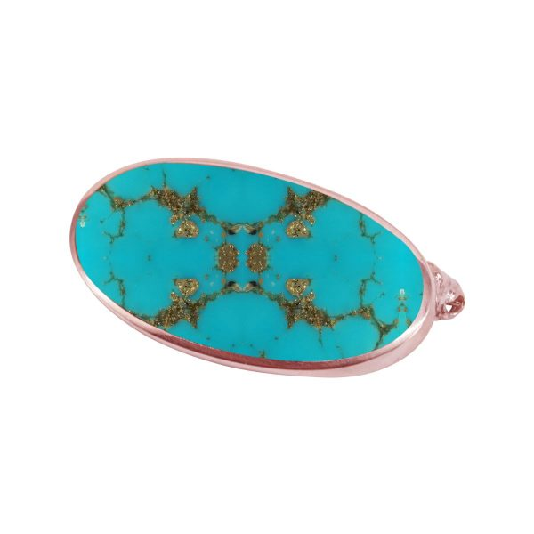 Rose Gold Turquoise Oval Brooch
