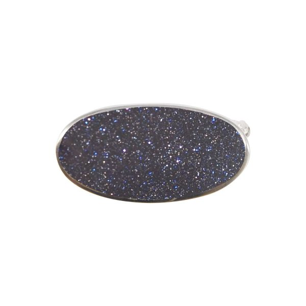 Silver Blue Goldstone Oval Brooch