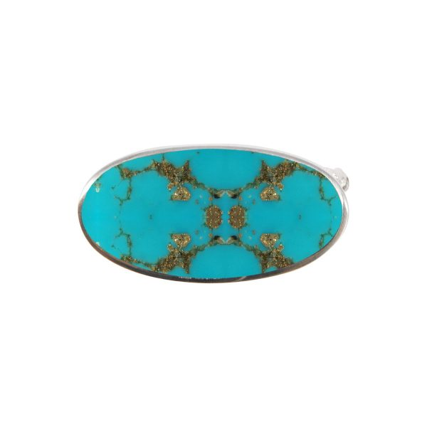 Silver Turquoise Oval Brooch