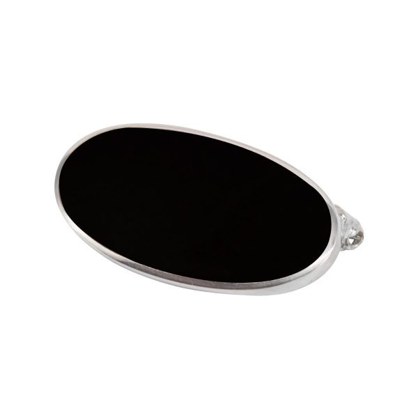Silver Whitby Jet Oval Brooch