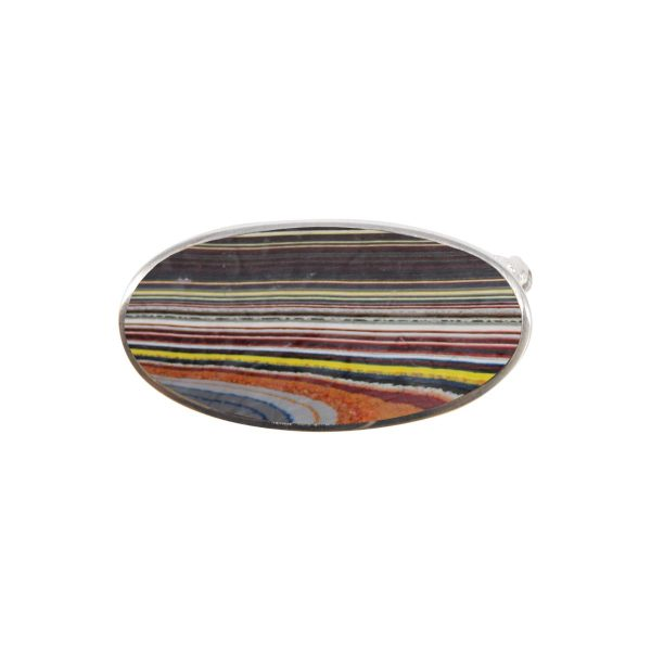 White Gold Fordite Oval Brooch