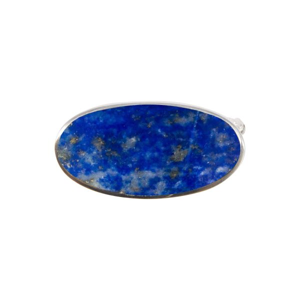 White Gold Lapis Oval Brooch