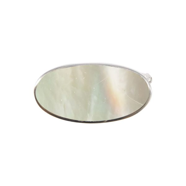 White Gold Mother of Pearl Oval Brooch