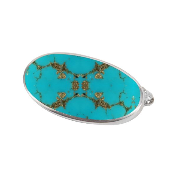 White Gold Turquoise Oval Brooch