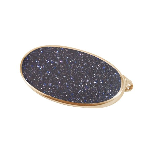 Yellow Gold Blue Goldstone Oval Brooch