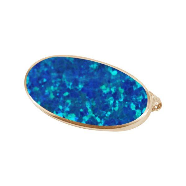 Yellow Gold Opalite Cobalt Blue Oval Brooch