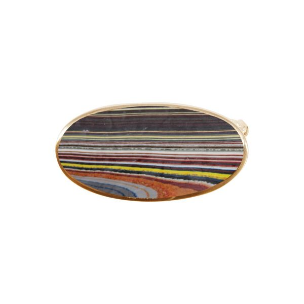 Yellow Gold Fordite Oval Brooch
