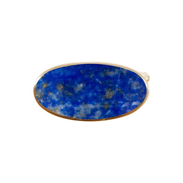 Yellow Gold Lapis Oval Brooch