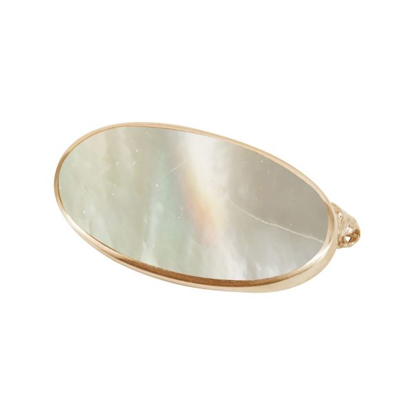 Yellow Gold Mother of Pearl Oval Brooch