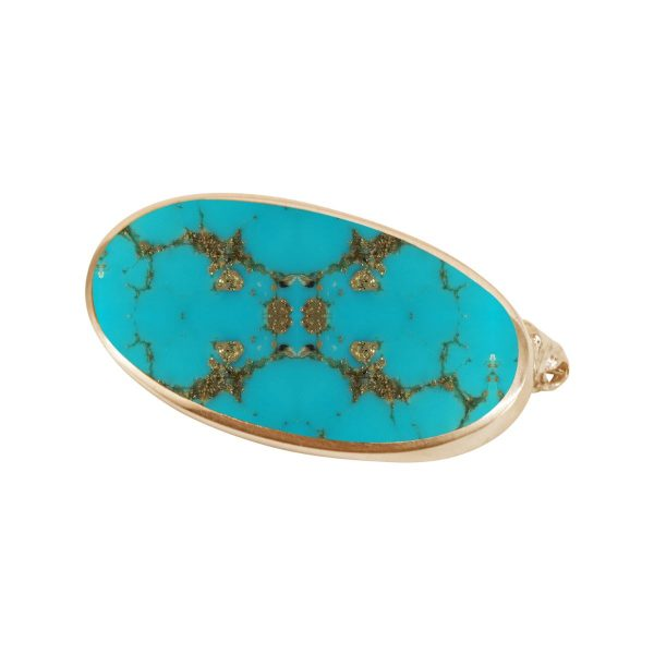Yellow Gold Turquoise Oval Brooch