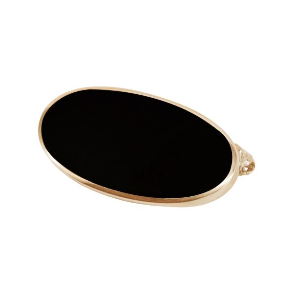 Yellow Gold Whitby Jet Oval Brooch