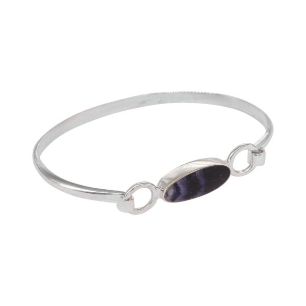 Silver Oval Blue John Bangle