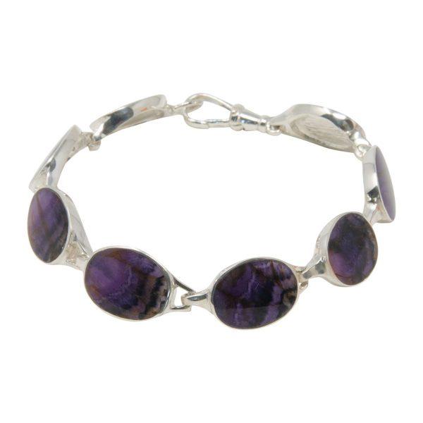 Silver Blue John Oval Stone Bracelet