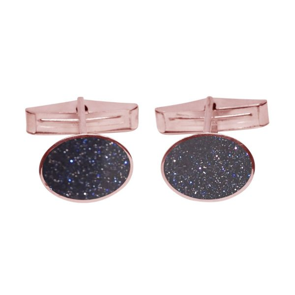 Rose Gold Blue Goldstone Oval Cufflinks