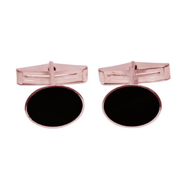 Rose Gold Whitby Jet Oval Cufflinks
