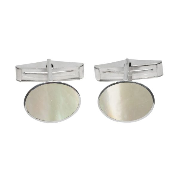 Silver Mother of Pearl Oval Cufflinks