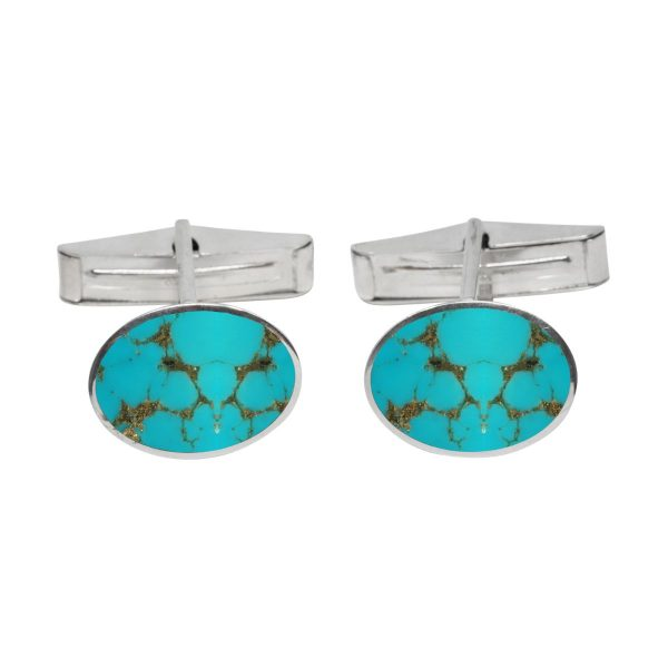 Silver Turquoise Oval Cufflinks