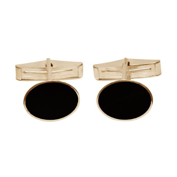Yellow Gold Whitby Jet Oval Cufflinks