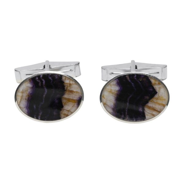 Silver Oval Blue John Cufflinks