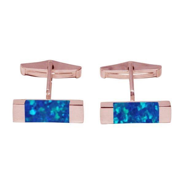 Rose Gold Cobalt Blue Opalite Rectangular Cufflinks