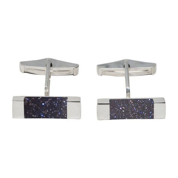 Silver Blue Goldstone Rectangular Cufflinks