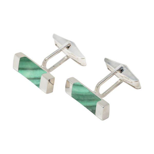 Silver Malachite Rectangular Cufflinks