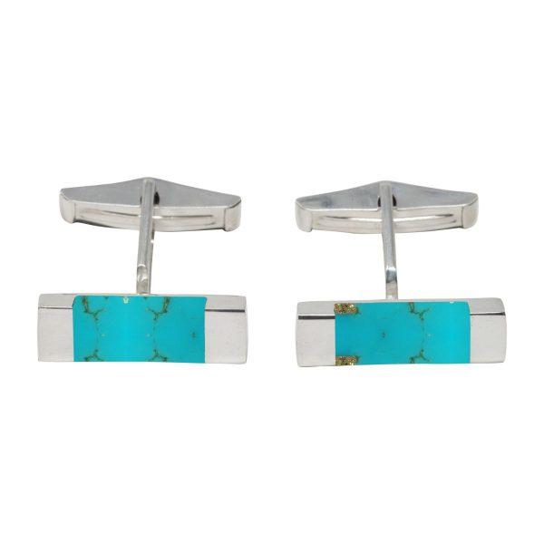 Silver Turquoise Rectangular Cufflinks