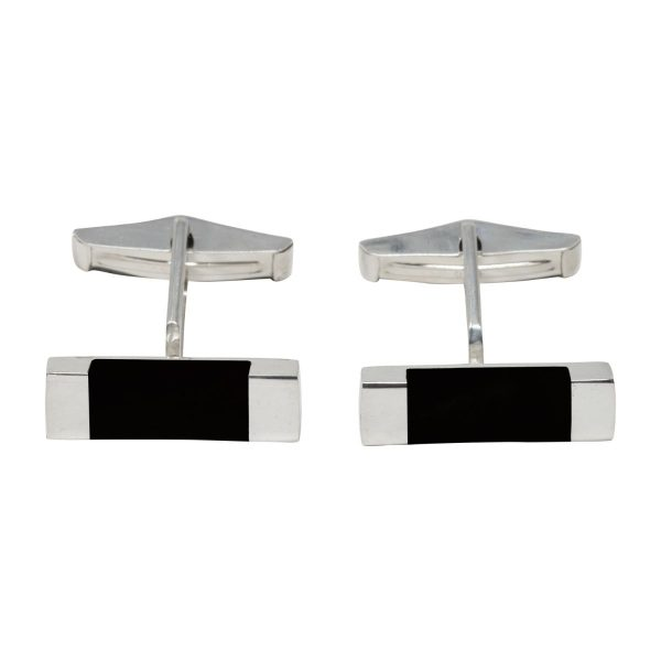 Silver Whitby Jet Rectangular Cufflinks