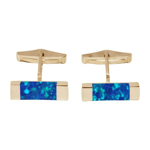 Yellow Gold Cobalt Blue Rectangular Cufflinks