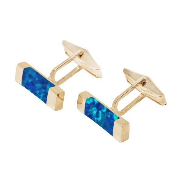 Yellow Gold Opalite Cobalt Blue Rectangular Cufflinks