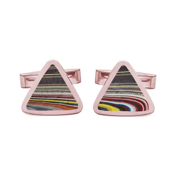 Rose Gold Fordite Triangular Cufflinks