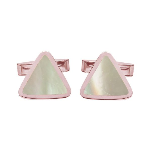 Rose Gold Mother of Pearl Triangular Cufflinks