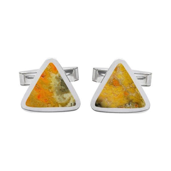 Silver Bumblebee Jasper Triangular Cufflinks
