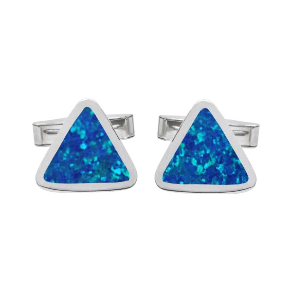 Silver Cobalt Blue Opalite Triangular Cufflinks
