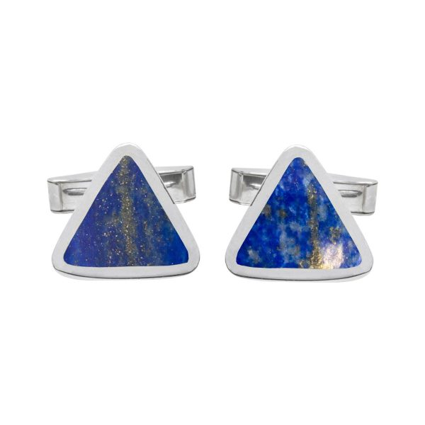 Silver Lapis Triangular Cufflinks