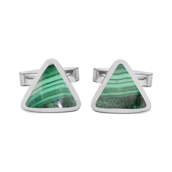 Silver Malachite Triangular Cufflinks