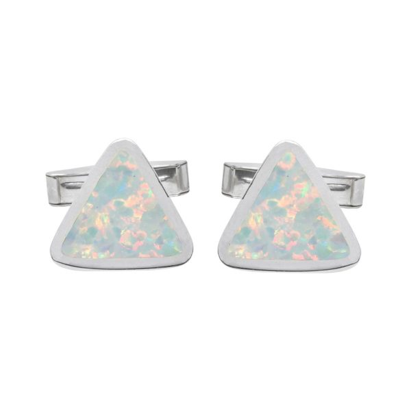 Silver Opalite Sun Ice Triangular Cufflinks