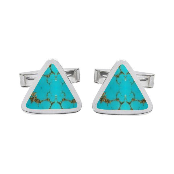 Silver Turquoise Triangular Cufflinks